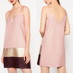 Zara Collection Pink Faux Leather Shift Dress